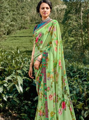 Faux Georgette Multi Colour Floral Print Printed Saree