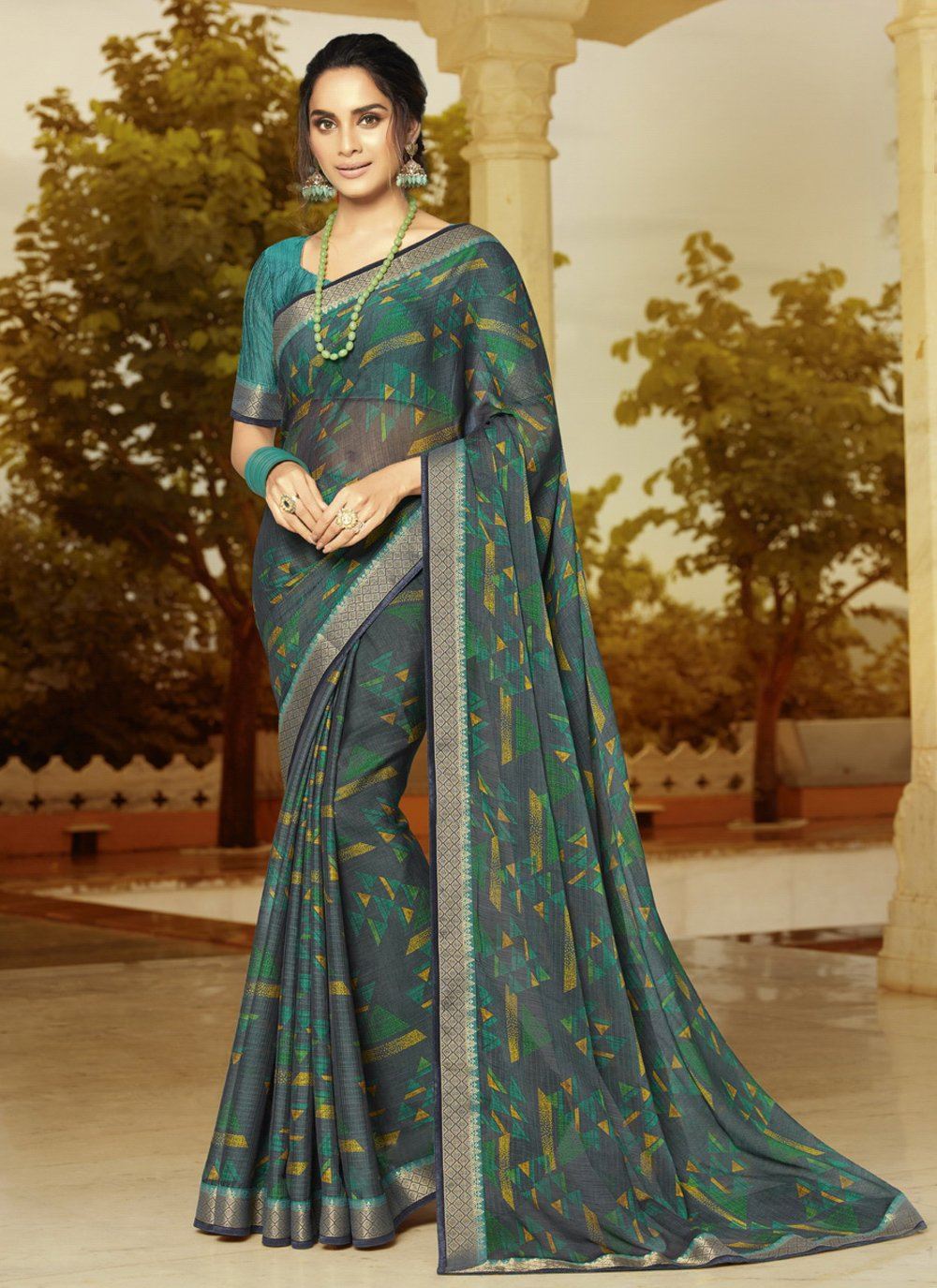 Faux Georgette Multi Colour Printed Classic Designer Saree