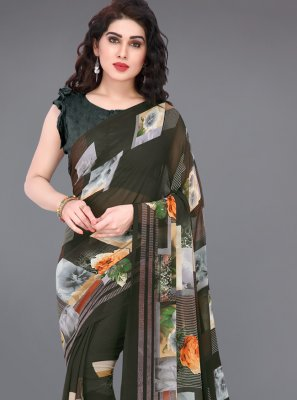 Faux Georgette Multi Colour Printed Designer Saree