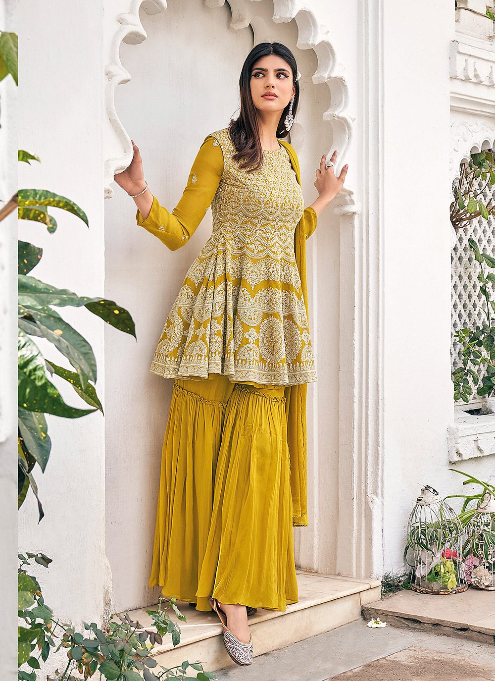 Faux Georgette Mustard Embroidered Readymade Suit