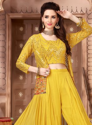 Faux Georgette Mustard Fancy Party Wear Kurti