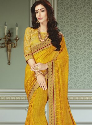 Faux Georgette Mustard Patch Border Trendy Saree
