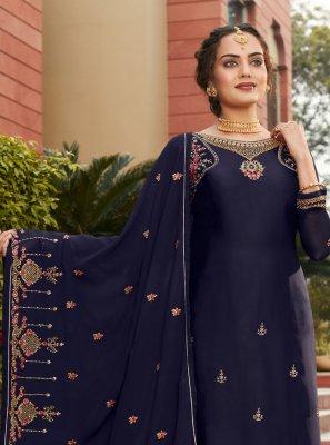Faux Georgette Navy Blue Designer Pakistani Suit
