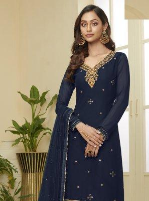 Faux Georgette Navy Blue Designer Palazzo Salwar Suit