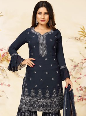 Faux Georgette Navy Blue Embroidered Readymade Suit