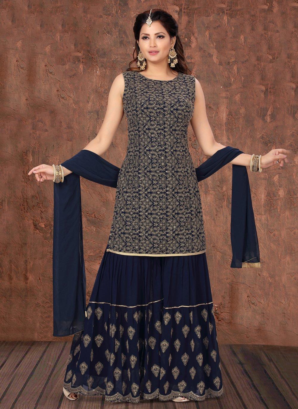 Faux Georgette Navy Blue Fancy Designer Palazzo Suit
