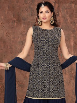 Faux Georgette Navy Blue Fancy Designer Palazzo Suit