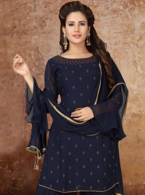 Faux Georgette Navy Blue Fancy Readymade Suit