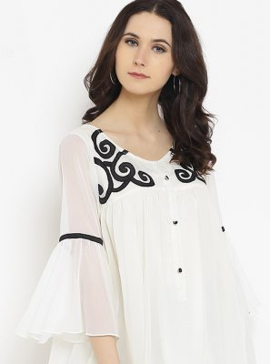 Faux Georgette Off White Fancy Party Wear Kurti