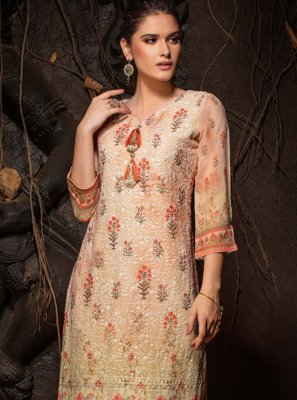 Faux Georgette Orange Chicken Party Wear Kurti