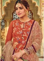 Faux Georgette Orange Designer Salwar Suit