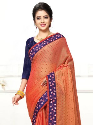 Faux Georgette Orange Mirror Trendy Saree