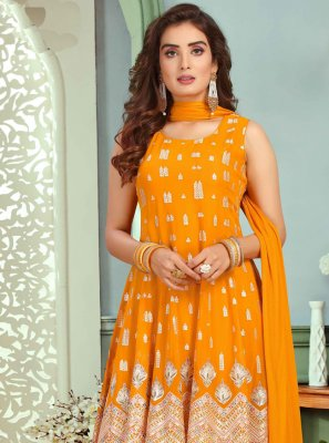 Faux Georgette Orange Readymade Suit