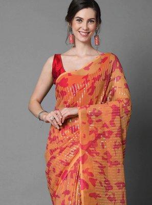 Faux Georgette Orange Sequins Trendy Saree