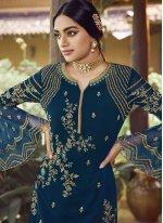 Faux Georgette Palazzo Designer Salwar Suit in Blue