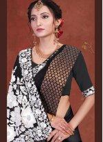 Faux Georgette Patch Border Classic Designer Saree in Black