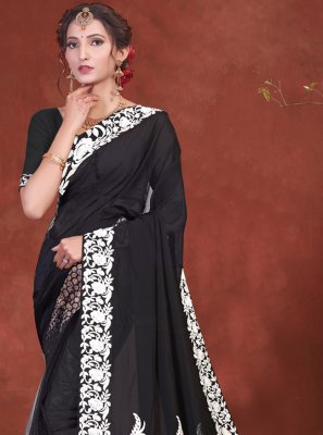 Faux Georgette Patch Border Classic Designer Saree in Black