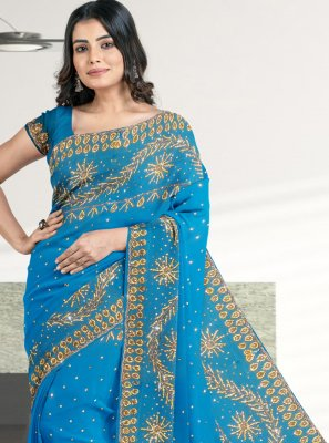 Faux Georgette Patch Border Designer Saree