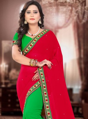 Faux Georgette Patch Border Green and Red Half N Half  Saree