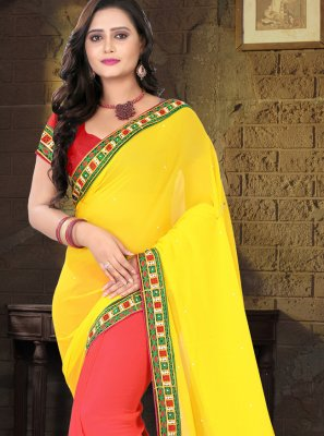 Faux Georgette Patch Border Half N Half  Saree