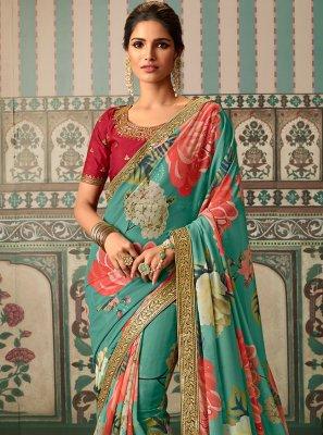Faux Georgette Patch Border Multi Colour Classic Designer Saree