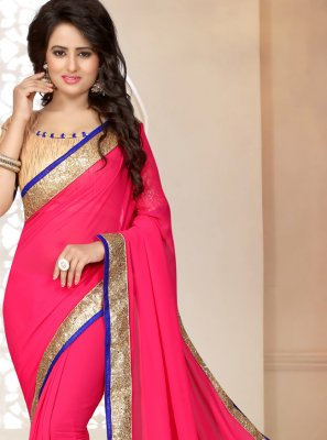 Faux Georgette Patch Border Rose Pink Trendy Saree