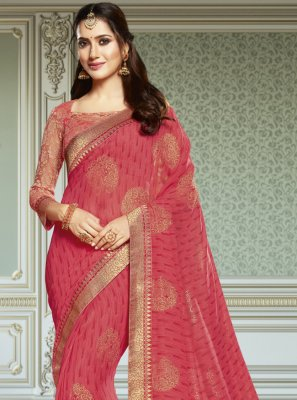 Faux Georgette Patch Border Trendy Saree in Pink
