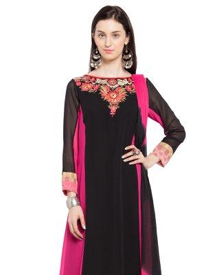 Faux Georgette Patchwork Black Readymade Churidar Salwar Kameez