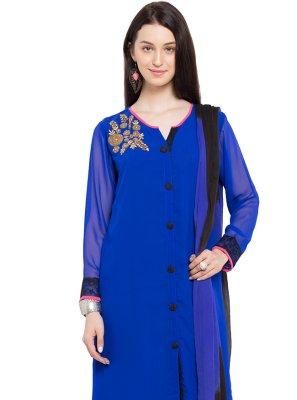 Faux Georgette Patchwork Blue Readymade Salwar Kameez