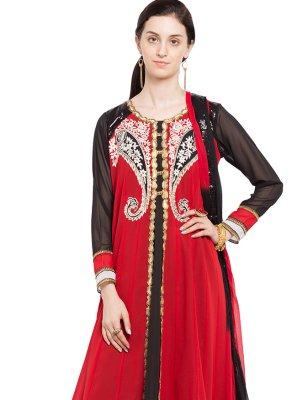 Faux Georgette Patchwork Readymade Anarkali Salwar Suit in Red