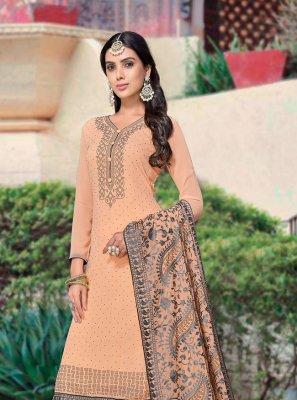 Faux Georgette Peach Designer Palazzo Salwar Suit