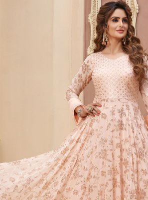 Faux Georgette Peach Fancy Readymade Anarkali Suit