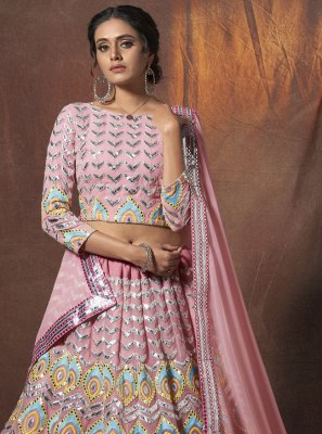 Faux Georgette Peach Lehenga Choli
