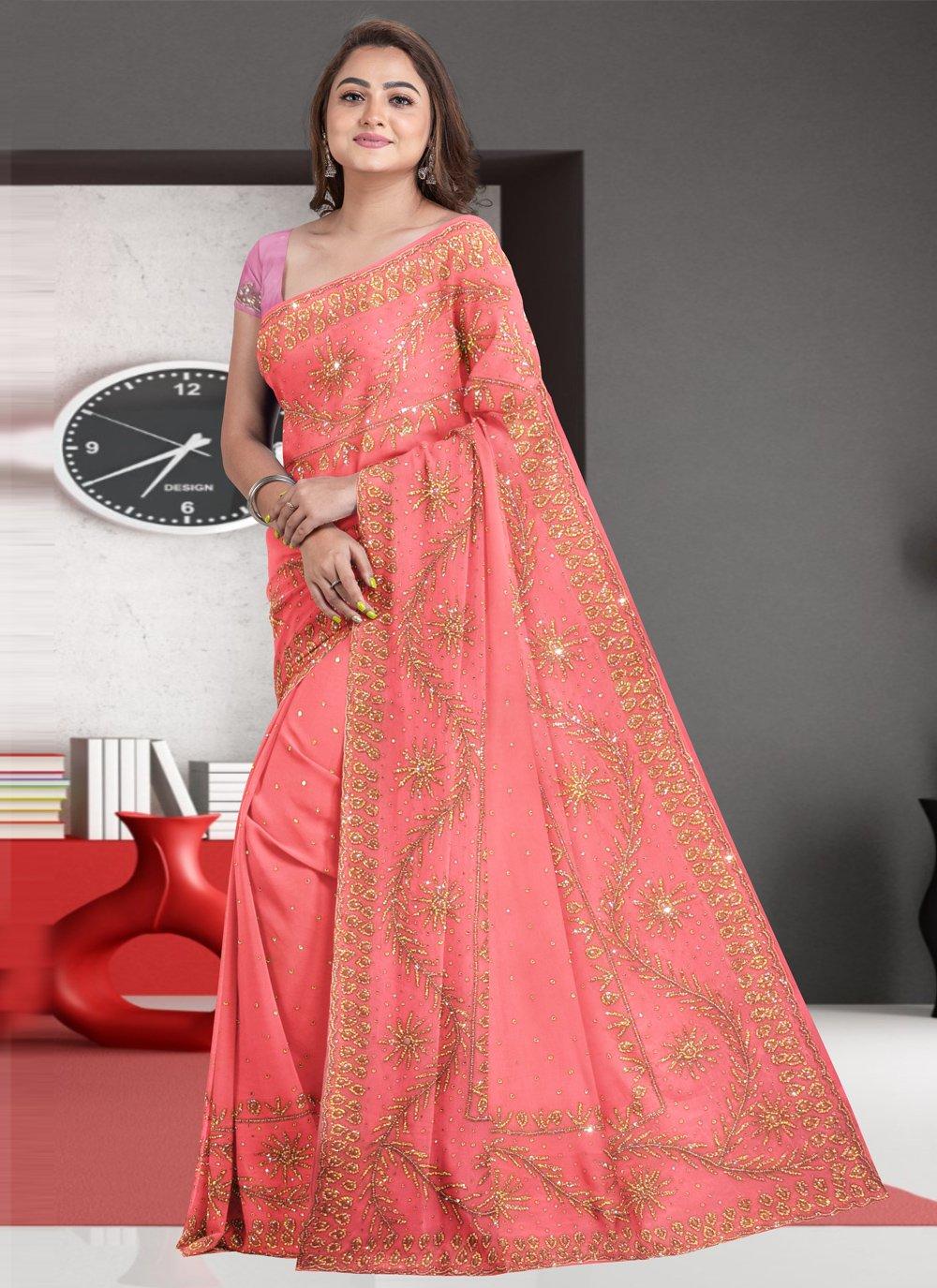 Faux Georgette Peach Traditional Designer Saree