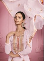 Faux Georgette Pink Embroidered Pant Style Suit