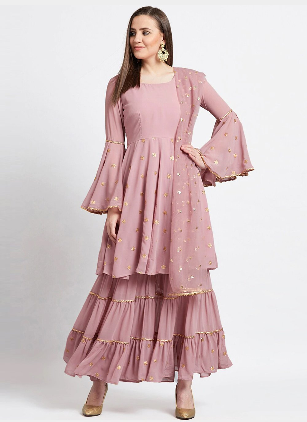 Faux Georgette Pink Readymade Suit