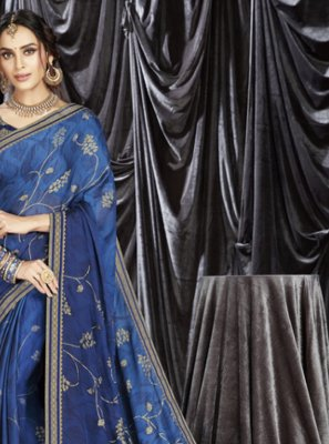 Faux Georgette Print Blue Shaded Saree