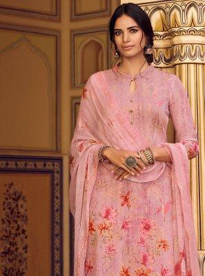 Faux Georgette Print Pink Designer Pakistani Salwar Suit