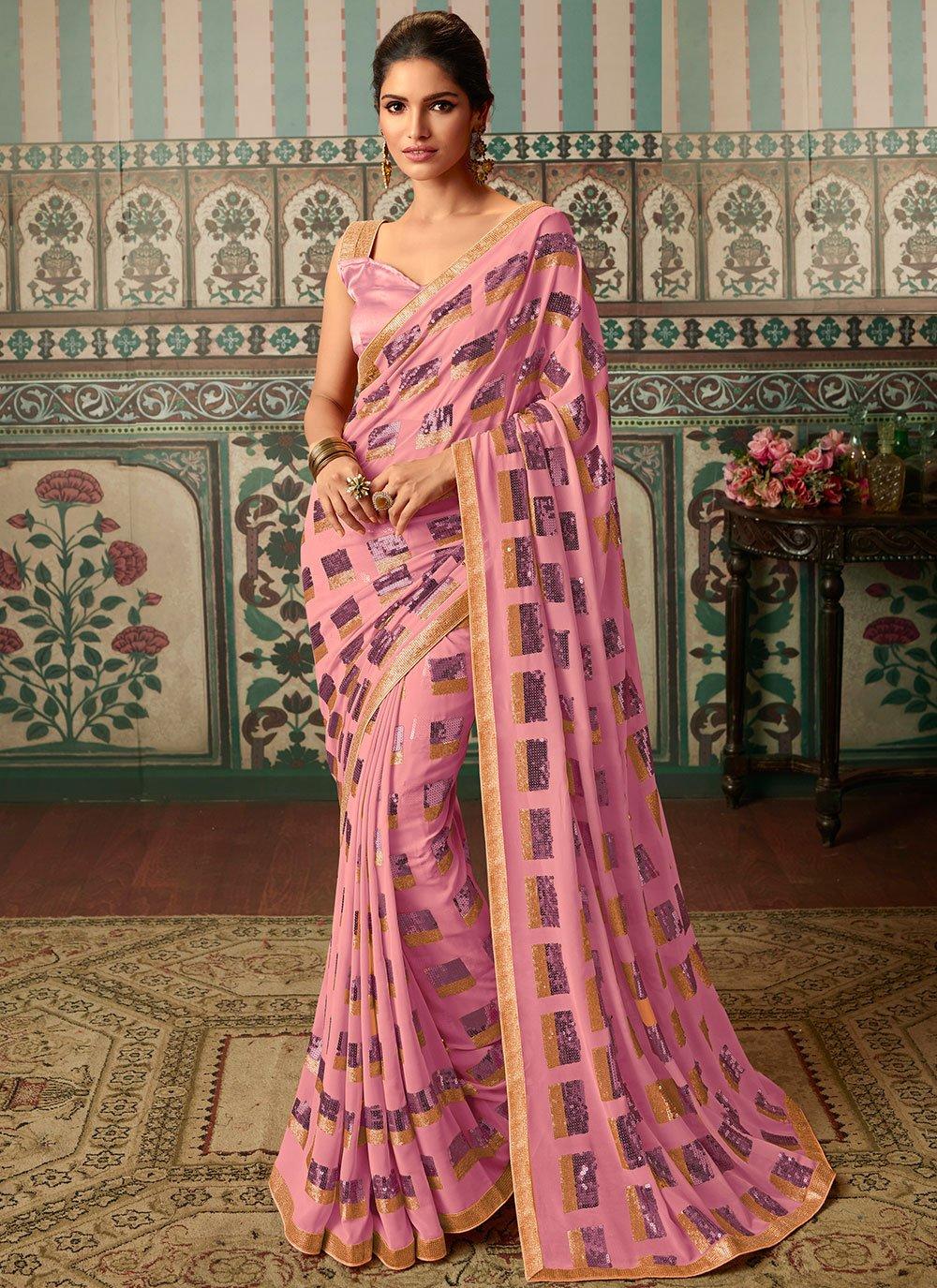 Faux Georgette Print Pink Trendy Saree