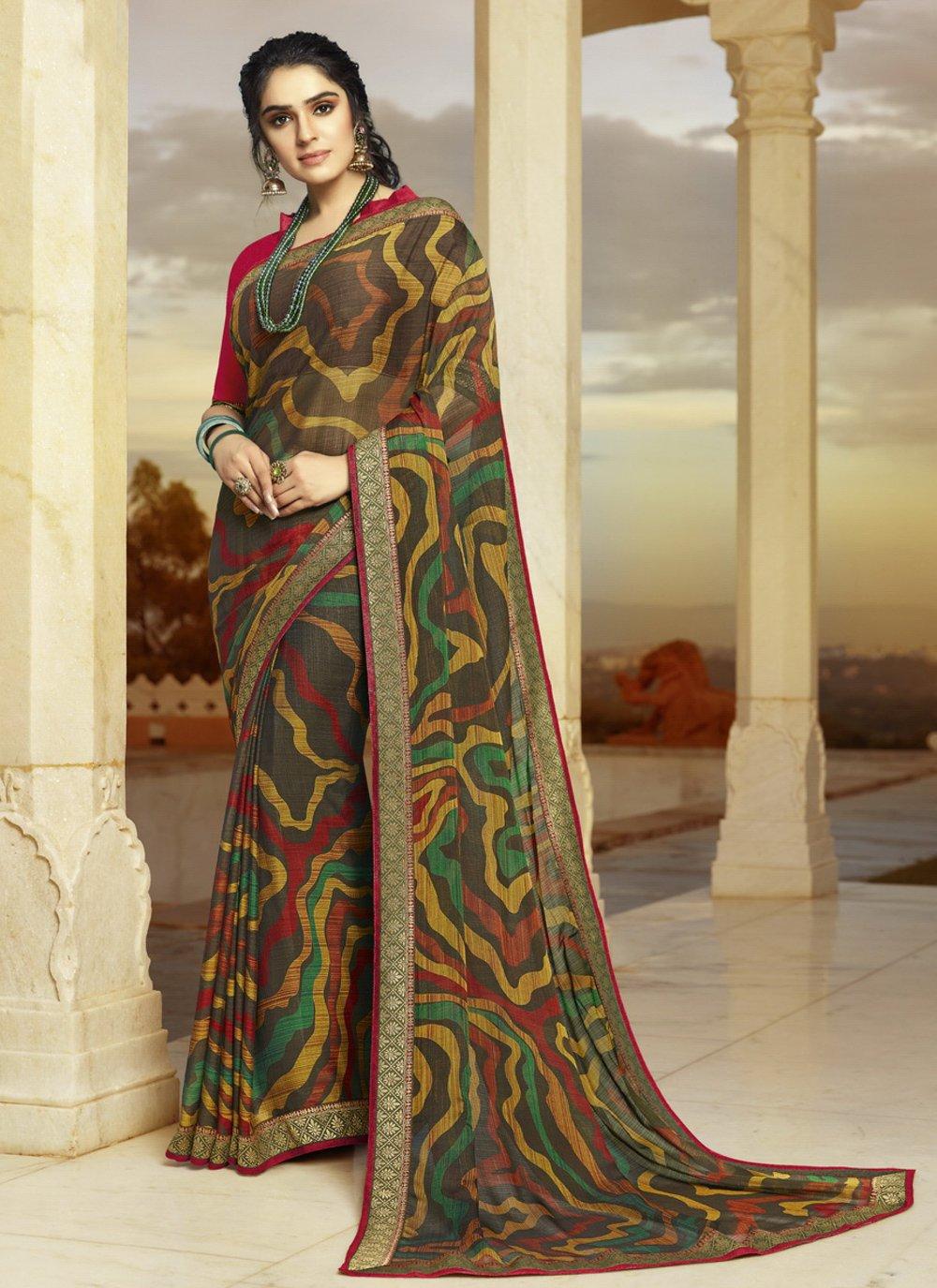 Faux Georgette Printed Multi Colour Trendy Saree