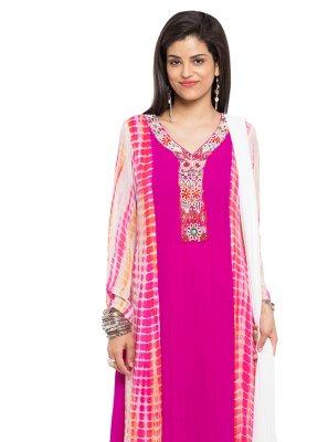 Faux Georgette Printed Readymade Salwar Kameez in Pink