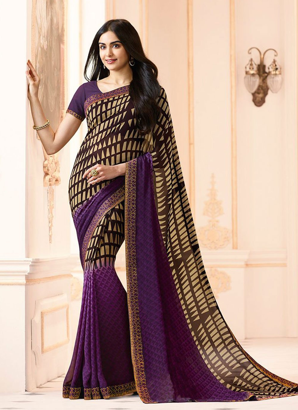 Faux Georgette Purple Abstract Print Printed Saree
