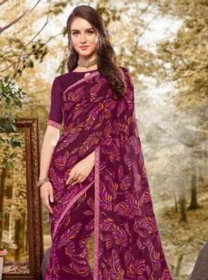 Faux Georgette Purple Casual Saree