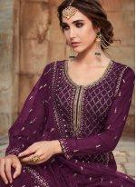 Faux Georgette Purple Designer Pakistani Salwar Suit