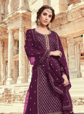 Faux Georgette Purple Designer Pakistani Salwar Suit