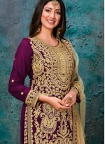 Faux Georgette Purple Embroidered Pant Style Suit