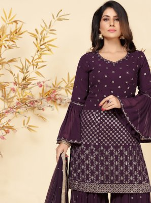 Faux Georgette Purple Embroidered Readymade Suit