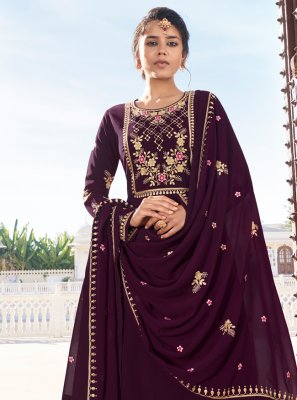Faux Georgette Purple Readymade Suit