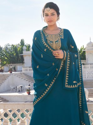 Faux Georgette Rama Resham Readymade Suit