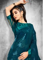 Faux Georgette Rama Sequins Trendy Saree
